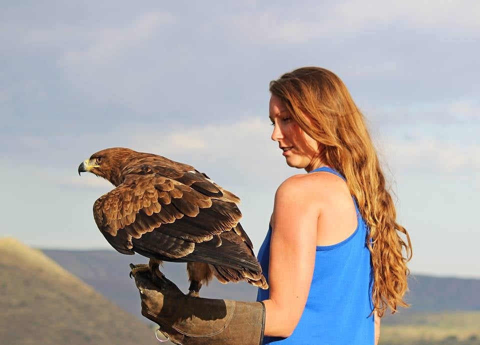 Nora with a tawny eagle